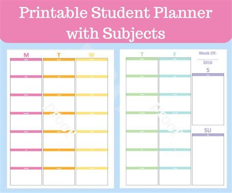 printable planner for college student student planner printable with subjects middle school