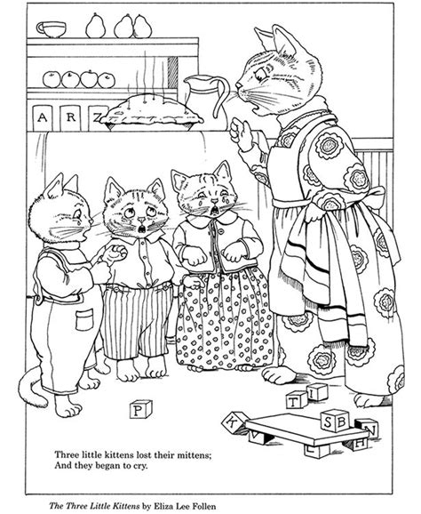 three little kittens coloring page coloring home