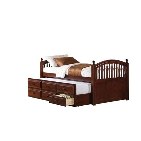 Daybed With Storage Drawers Coaster Daybed With Trundle And Storage Drawers In Cherry 400381t