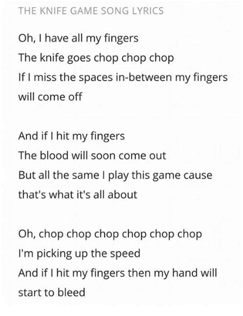 lyrics cause i about my the knife song lyrics oh i all my fingers the