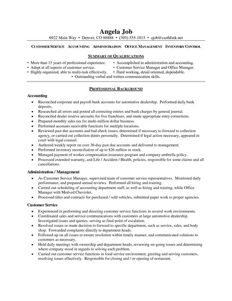 Resume Customer Service Free Sles Of Resumes For Customer Service Resume