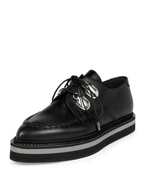Mcqueenleather Lace Ups mcqueen platform leather lace up loafer in black