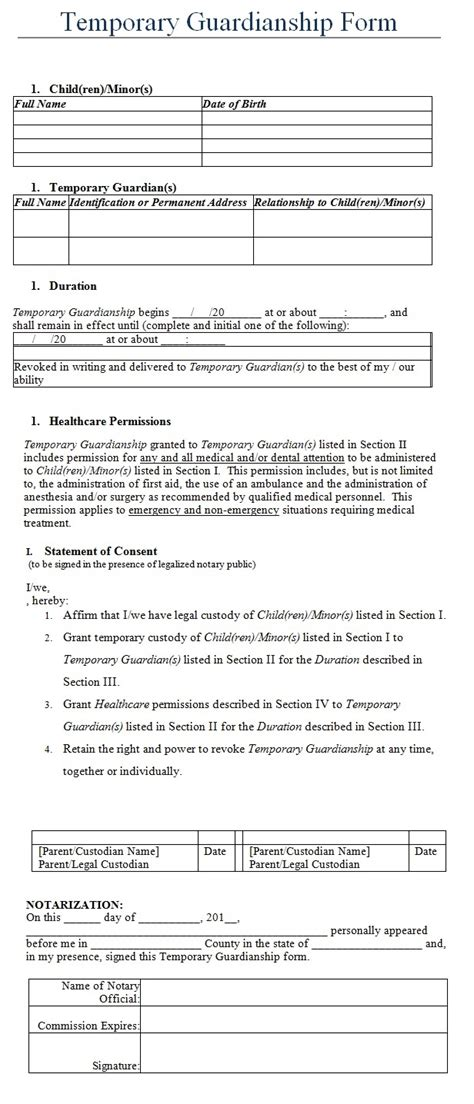 visitor report template guardianship temporary guardianship form template forms