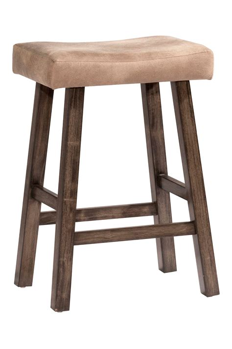 Grey Faux Leather Counter Stools by Hillsdale Saddle Non Swivel Backless Counter Stool