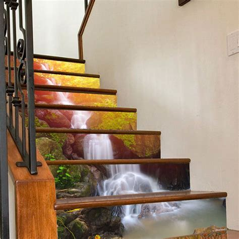 waterfall stair risers decoration photo mural vinyl