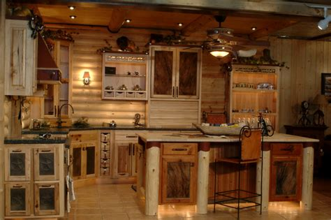 Small Kitchen With Island Design by Log Cabin Kitchens