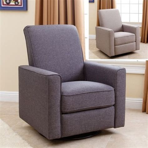 Gray Swivel Chair - nursery taupe or gray swivel glider recliner arm chair