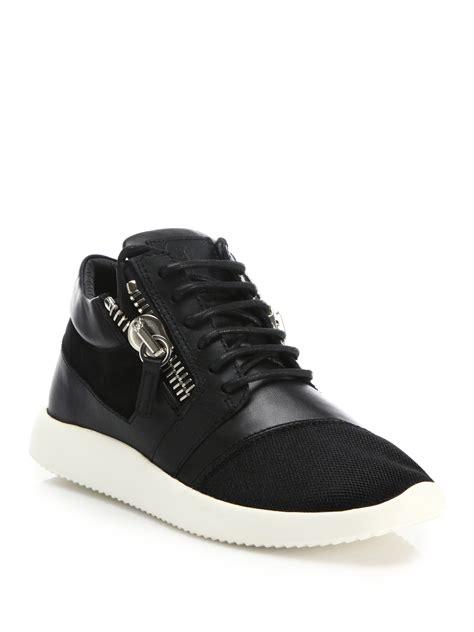 zips sneakers giuseppe zanotti leather mesh side zip sneakers in black