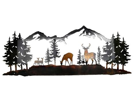 Moose Themed Home Decor by Smw419 Metal Decor Wall Art Nature With Mountains