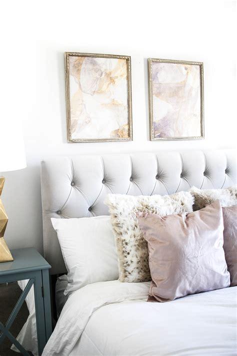 bedroom tour velvet headboard velvet pillows and pastels