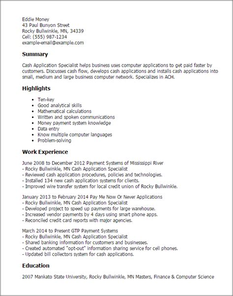 Resume Application by Professional Application Specialist Templates To