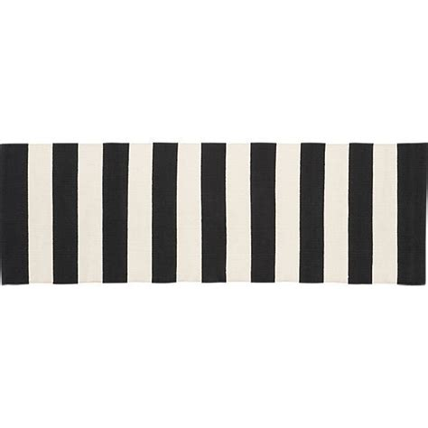 Black And White Striped Runner Rug Olin Black Striped Cotton Dhurrie 2 X6 Rug Runner Runners Crates And Barrels