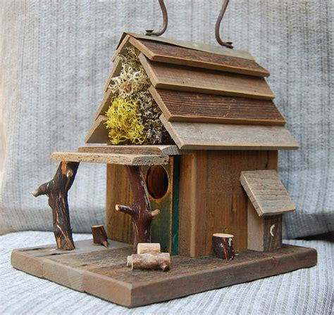 rustic birdhouse with porch barn wood bird house
