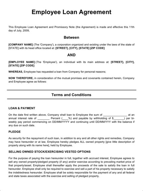 Letter For Loan Given To Employee remarkable employee agreement for personal loan and promissory vlcpeque