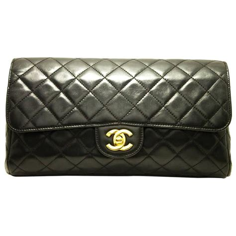 chanel timeless clutch bag leather black flap quilted