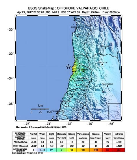 earthquake data powerful m6 9 earthquake hits off chile s valparaiso