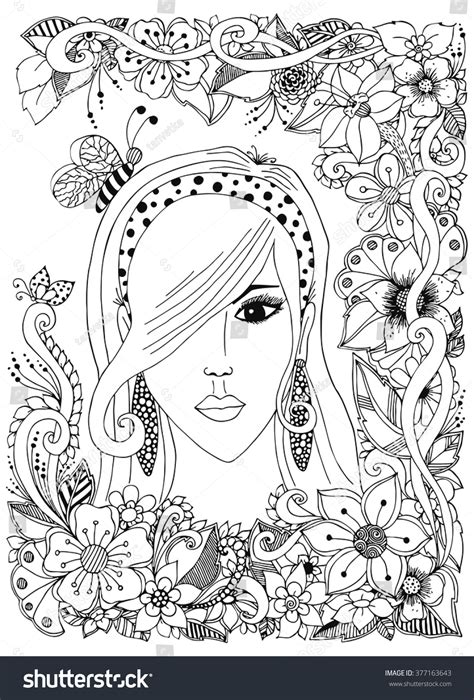 doodle hair vector vector illustration of a with asian zentangl bee in