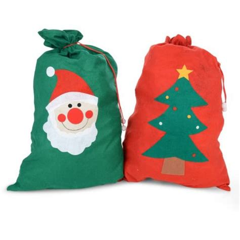 buy large felt christmas sack gift bags red and green