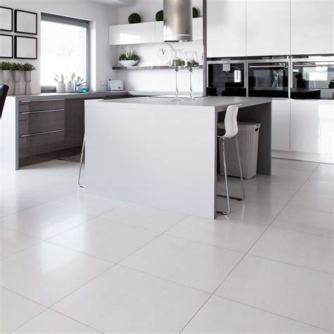White Ceramic Tile Kitchen Floor by White Square Polished Porcelain Tiles Polished Porcelain