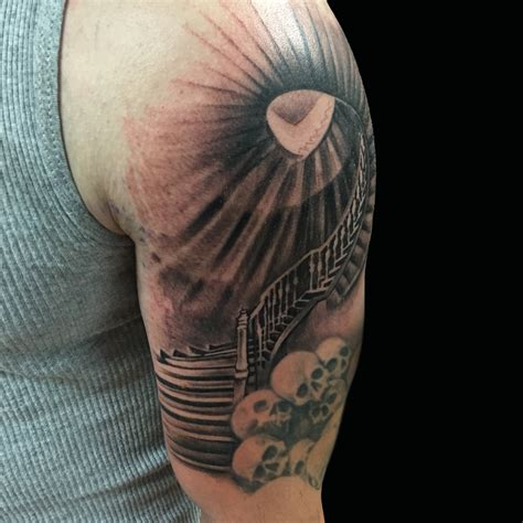 black and grey tattoo artist dallas staircase sleeve by capone tattoonow