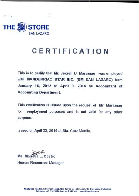 certification letter from employer certificate of employment msi sm dep store