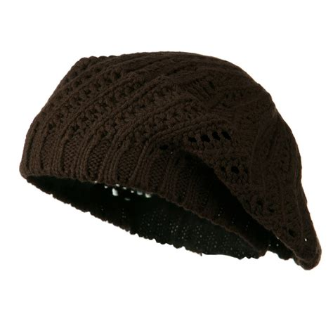 knitted beret brown crocheted knit beret beret tam hat