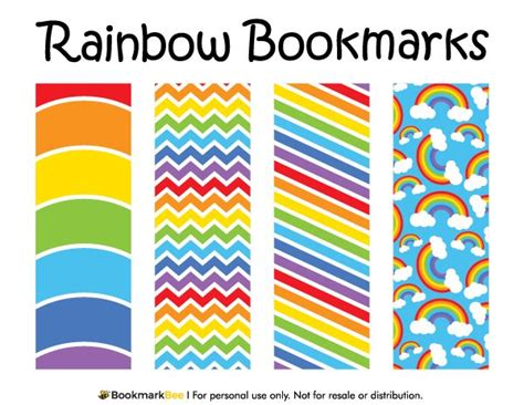 printable rainbow bookmarks free printable rainbow bookmarks download the pdf