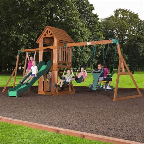 backyard discovery sonora cedar wood swing set sonora wooden swing set playsets backyard discovery gogo