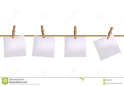 How To Make Hanging With Paper - four paper notes hanging on rope stock vector