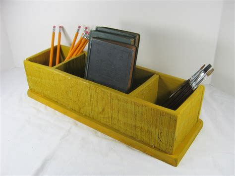 Vintage Desk Organizer by Vintage Desk Organizer Wood Storage Box Chartreuse Paint 3