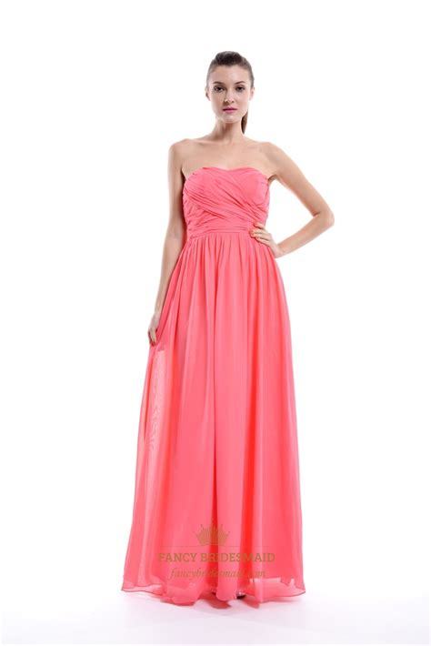 coral a line floor length chiffon strapless ruffle