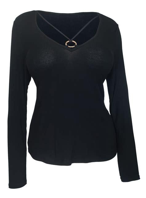 Detail Top s o ring detail sleeve top black evogues apparel