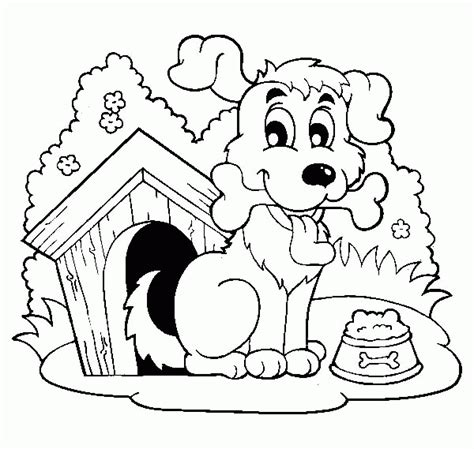 happy dog house dog house happy dog with a bone by his house coloring page coloring home