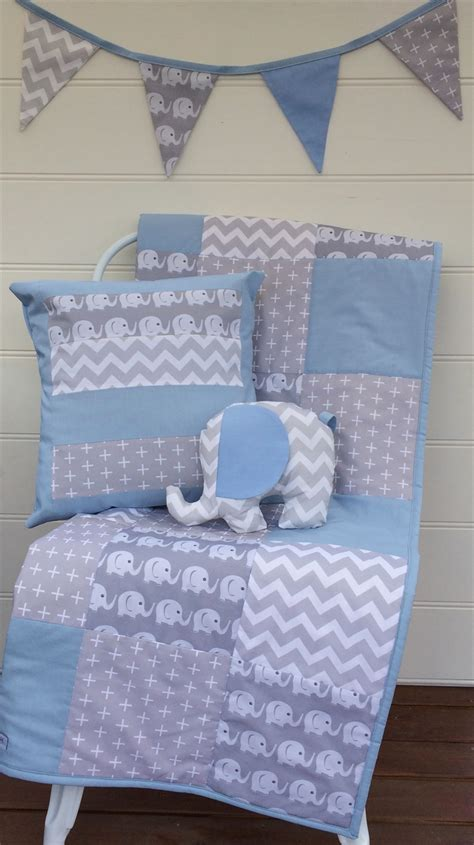 Patchwork Cot Bedding - baby boy blue and grey elephant patchwork cot quilt