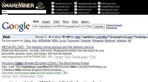 megaupload search downloads search rapidshare and megaupload a tool for the lazy leecher