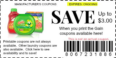 Gain Printable Coupons
