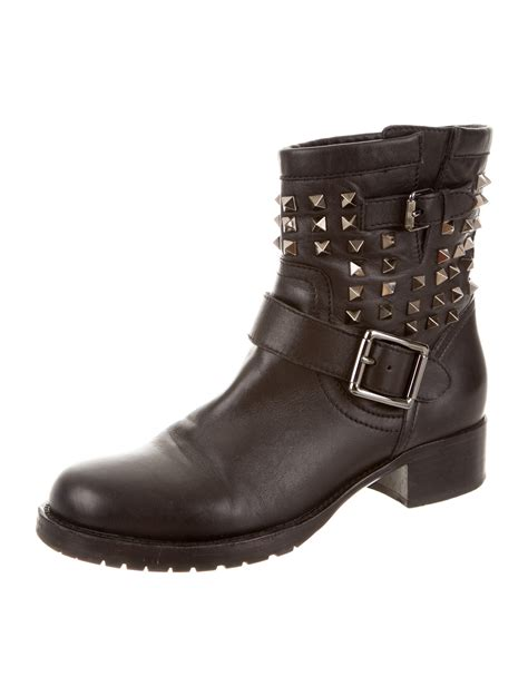 moto shoes valentino leather rockstud moto boots shoes val38917