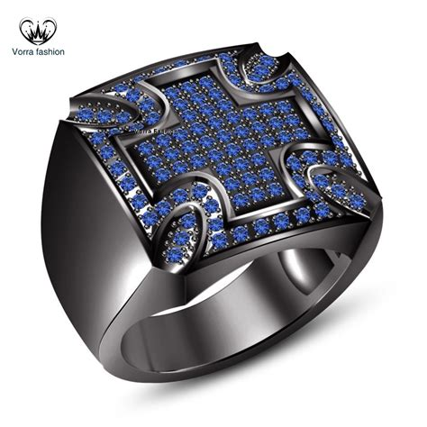Cincin 925 Silver Ring Blue Sapphire Cross Rings Wedding Engage 18k black gold plated 925 silver cut blue sapphire s cross band ring rings