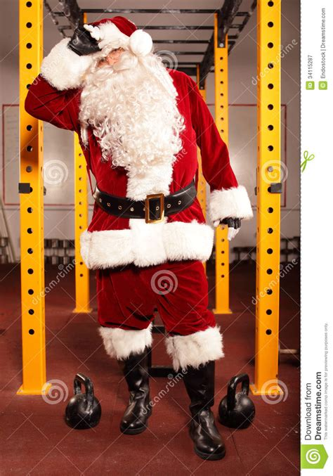 sweating tired santa claus royalty  stock photography