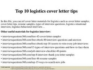 Logistics Coordinator Cover Letter by Top 10 Logistics Cover Letter Tips