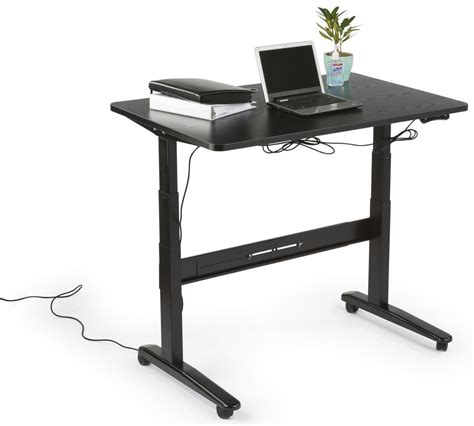 electric adjustable height desk black tabletop
