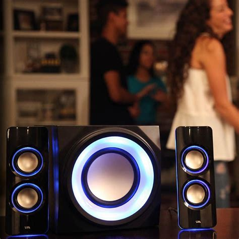 speakers with lights amazon com cyber acoustics bluetooth color changing