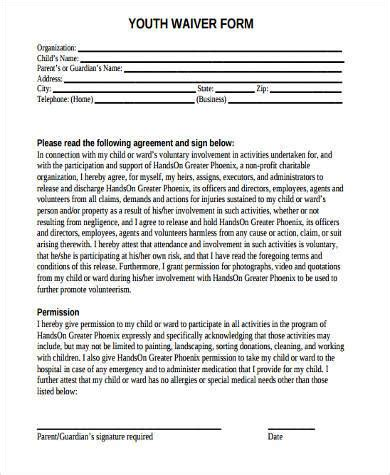 participation waiver template sle youth waiver forms 8 free documents in word pdf