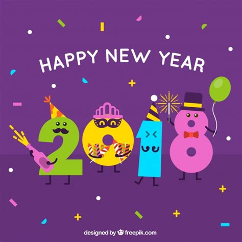 funny happy new year flirt new year 2018 background vector free