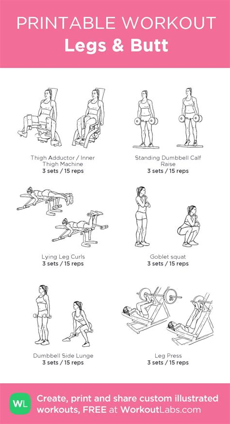 printable workout to customize and print ultimate at home legs butt my custom printable workout work it