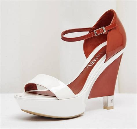 Channel Wedges Shoes 1 chanel white patent leather platform wedge high heel sandal shoe 9 39 ebay