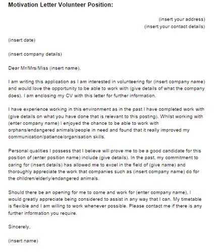 cover letter for volunteer work motivation letter volunteer position exle just letter