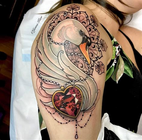 swan amp ruby necklace ornamental piece best tattoo design
