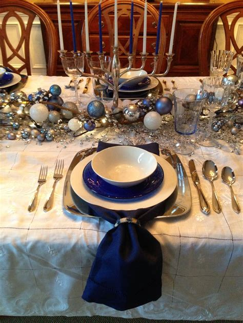 hanukkah table setting by tracey pred table ideas pinterest