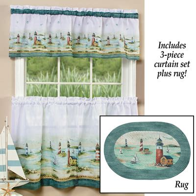 nautical cafe curtains nautical hton cafe curtain and rug set from collections